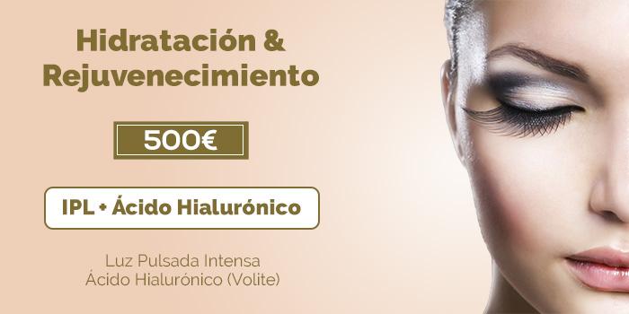rejuvenecimiento facial con ácido hialurónico y IPL